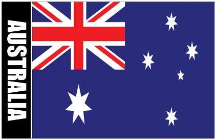 6x Oversize Postcard Of Australia Flag with Coat Of Arms on Back